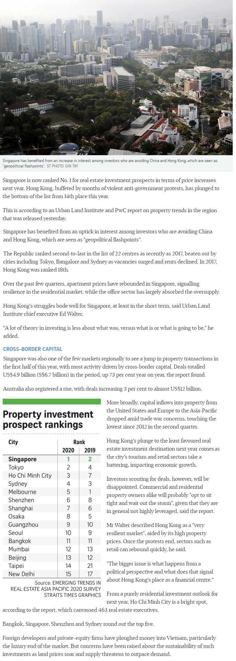 Leedon Green - Singapore Tops Region For Property Investment Prospects